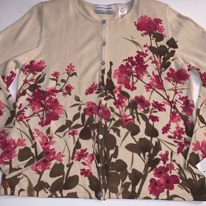 Alfred Dunner Floral Cardigan Mother of Pearl Bttn